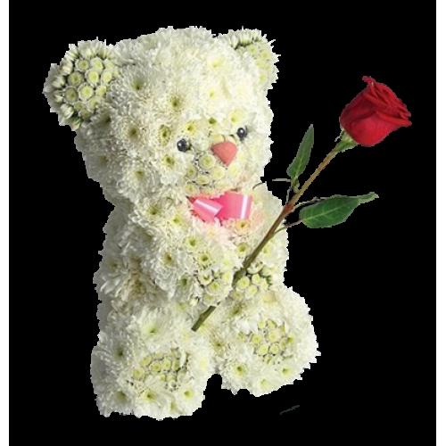 Купить на заказ Заказать Медвежонок с цветком с доставкой по Экибастузу с доставкой в Экибастузе