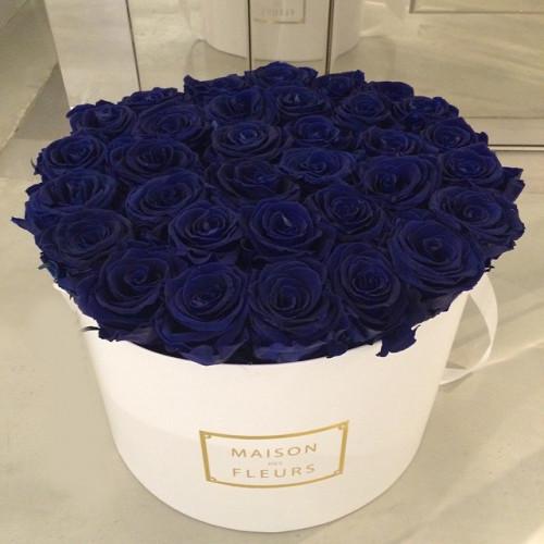 Купить на заказ Заказать Синие розы в коробке Maison с доставкой по Экибастузу с доставкой в Экибастузе