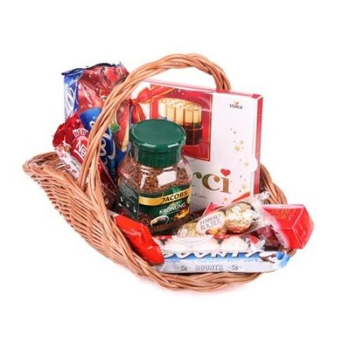 Купить на заказ Заказать Кофейно-конфетная корзина с доставкой по Экибастузу с доставкой в Экибастузе