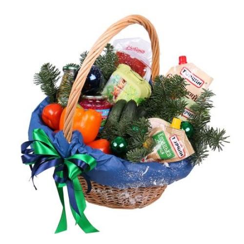 Купить на заказ Заказать Новогодняя корзина «Продуктовая» с доставкой по Экибастузу с доставкой в Экибастузе