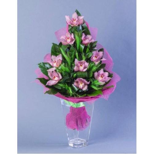 Купить на заказ Заказать Букет из 9 Орхидей с доставкой по Экибастузу с доставкой в Экибастузе